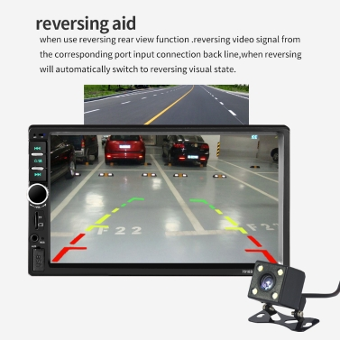 7 inch Touch Screen HD Radio MP3 MP5 Player 7018B 2DIN Car Radio BT Audio  Stereo USB with Rear View Camera and Steering wheel controller