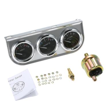52 MM Öldruck Celsius Wassertemperaturanzeige Voltmeter Chrom 3 in 1 Messgerät Kit Auto Motorrad Meter
