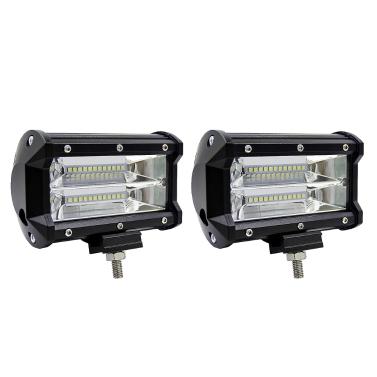 2Pcs 5inch 72W LED Light Bar Spot Beam Work Light Driving Fog Light Road Lighting for Jeep Car Truck SUV Boat Marine