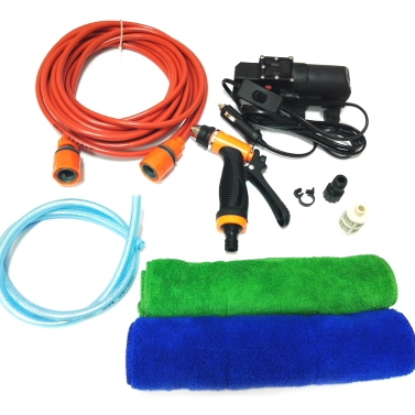 12V Car Wash Washing Machine Cleaning Electric Pump Pressure Washer Device Tool with 2pcs towel