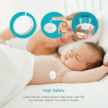 Koogeek Wearable Smart Baby Thermometer Professional Accurate Wireless 4.0 24-hour Continuous Monitoring without Disturbing the Baby 10 Adhesive Patches Included for Infant Toddlers Kids Adult White