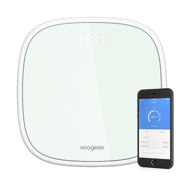 Koogeek Smart Wireless BT 4.0 Digital-Körpergewicht-Skala 16 Benutzererkennung mit Ultra Clear Glass LED-Anzeige App Gewicht Tracking-Ziel festlegen 440lb / 200kg Gewicht Kapazität Weiß