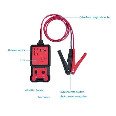 Elektronischer Relaistester für 12-V-Autobatterieprüfer mit Clips Auto-Relais-Diagnosewerkzeug
