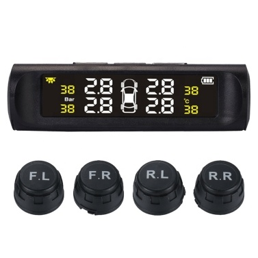 Car TPMS Tire Pressure Digital Solar Energy Monitoring System Auto Security Tire Pressure Alarm Systems LCD Display with 4 External Sensors