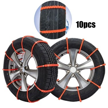 10Pcs Car Anti-Skid Snow Tyre Tire Wheel Chain Beef Tendon Nylon Strap Belt