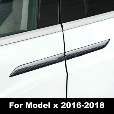 Türgriffabdeckung 3D Real Carbon Fiber Protector Aufkleber Befestigung für Tesla Modell x 2016-2018