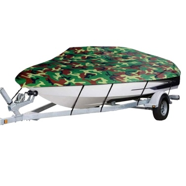 Boat Cover All-weather Protection Full Covers with Adjustable Strip and Buckle Camouflage Style Yacht Outdoor Protection Cover Sunscreen Protection Dustproof&Waterproof Scratch-Resistant Universal Fits V-HULL TRI-HULL Runabouts and Bass Boats, 11-13FT