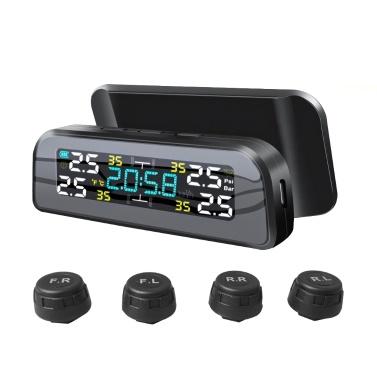 Sistema de monitoramento de pressão dos pneus de energia solar Alarme de pressão dos pneus de automóveis Detector de pressão dos pneus (conjunto de sensores externos)