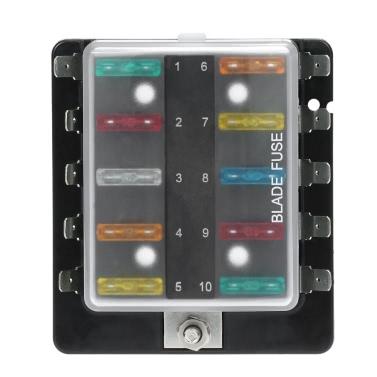 10 Way Blade Fuse Box Halter mit Kunststoff-Abdeckung für Auto-Boots-Marine-12V 24V