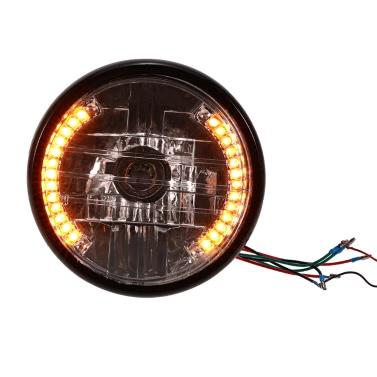 """7 """"Motorrad-Scheinwerfer Runde LED-Signalanzeigen blaues Licht Universal-Drehen"""