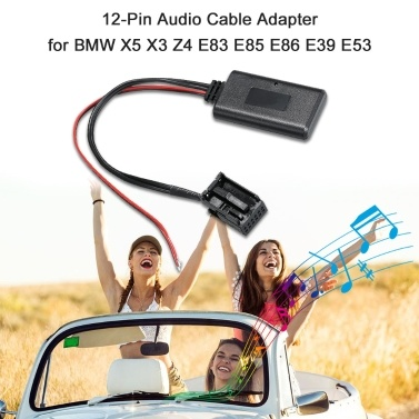 Audio Cable Adapter 12Pin Port BT Receiver Fit for BMW X5 X3 Z4 E83 E85 E86 E39 E53