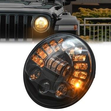 """Substituição dos faróis de LED de 7 """"85 W para Jeep Wrangler JK TJ LJ 1997-2018 c / DRL High / Low Beam e Amber Turn Signal Halo Lights"""
