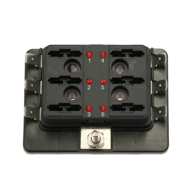 6 Way Blade Fuse Box Holder with LED Warning Light Kit for Car Boat Marine Trike 12V 24V