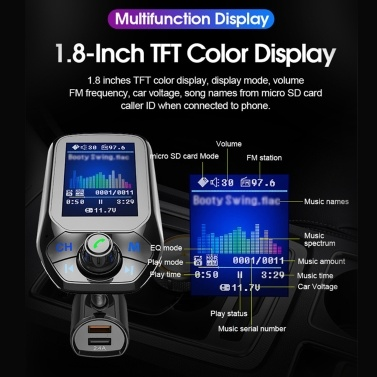 T43 Auto MP3-Player BT5.0 FM-Multifunktions-Transmitter Dual-USB-Ladegeräte unterstützen Freisprech-TF-Karte U Disk Music Play