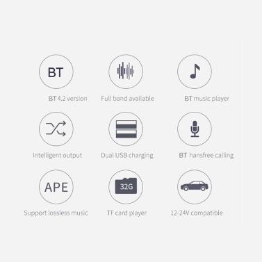 BC42 Auto-MP3-Player Multifunktions-BT4.2-FM-Transmitter Dual-USB-Ladegeräte unterstützen die Freisprechfunktion der TF-Karte und die Musikwiedergabe auf der Festplatte