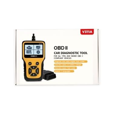 V311A OBD II-Scanner Autodiagnosewerkzeug Batteriespannungserkennung für alle Fahrzeuge ab 1996, die OBD II-konform sind