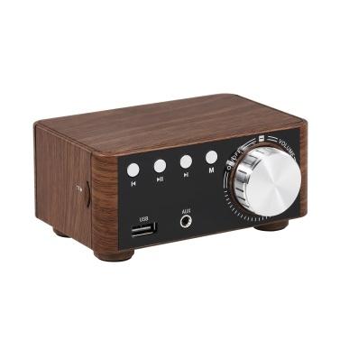 Wood grain HIFI BT 5.0 Digital Power Audio Amplifier Class D  50WX2 Stereo Home Audio Car Marine USB/AUX IN