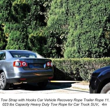 Abschleppgurt mit Haken Auto-Fahrzeug-Bergungsseil Anhängerseil 11.023 lbs Kapazität Hochleistungs-Abschleppseil für PKW-SUV , 4 m