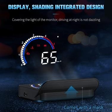 Auto-HUD-Display, Head-Up-Display Windschutzscheibenprojektor mit Geschwindigkeit, Digitaluhr, Überdrehzahlwarnung, Kilometerstandmessung, Wassertemperatur, Richtung, Einzelbereichsanzeige für alle Fahrzeuge