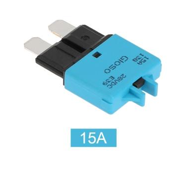 Zurücksetzen Circuit Breaker Blade Fuse IZTOSSManual mit Knopf 15A für Auto-LKW-Motorrad