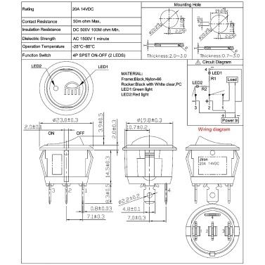 14VCD 20A Nebelscheinwerfer Druckknopfschalter EIN-AUS Wippschalter LED-Anzeige Rot & Gelb mit Kabelbuchsenstecker