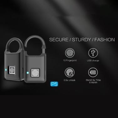 Anytek Smart Fingerprint P5 Vorhängeschloss Sicherheitsschloss Touch mit 10 Sätzen Fingerabdruck-Diebstahlschutz USB-Gebühr 6 Monate Standby-Zeit für Rucksack Koffer Handtasche Gepäck