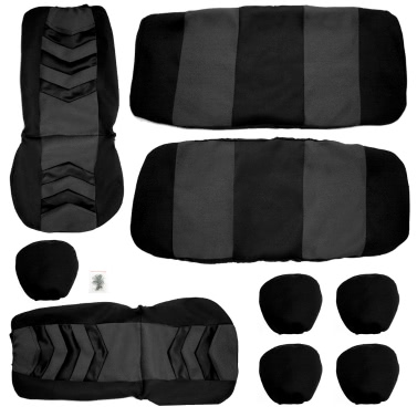 universal car seat cover set 9pcs seat covers front seat back seat headrest cover mesh black and. Black Bedroom Furniture Sets. Home Design Ideas