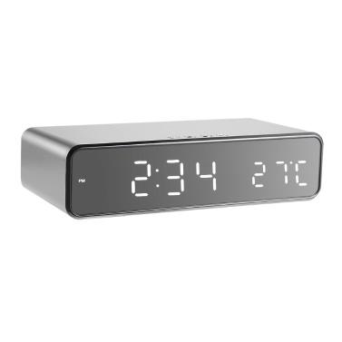 LED Schreibtisch Wecker mit Thermometer Wireless Ladegerät
