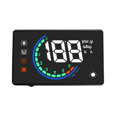 Car Hud Display OBDⅡ Head Up Display with Speed Overspeed Warning Mileage Measurement Water Temperature