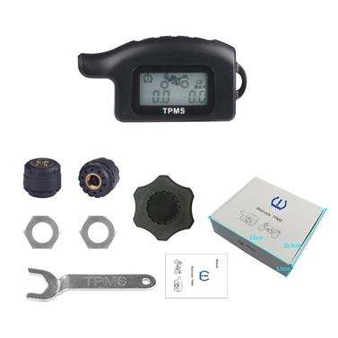 Wasserdichtes kabelloses TPMS Motorrad Reifendruckkontrollsystem 2 Externer Sensor Moto Tools