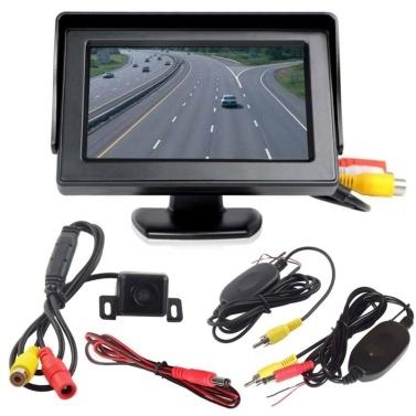 """Câmera de estacionamento com inversão de infravermelho sem fio + Kit de visão traseira de carro dobrável para monitor LCD de 4,3 """""""