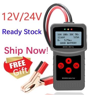 12V & 24V Kfz-Autobatterietester Lasttester Mehrsprachig 30-220Ah mit USB zum Drucken