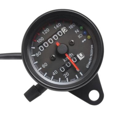 Universal Motorrad Geschwindigkeitsmesser Kilometerzähler 12V Motorrad Dual Speed Meter mit LED-Anzeige