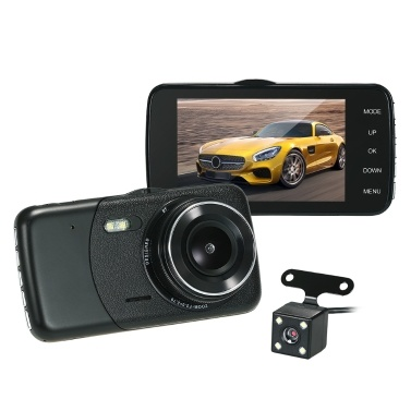 "KKmoon 4"" Dual Lens Car DVR Dash Cam Camera with Vehicle Location Function"