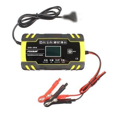 LCDディスプレイ付き12V 24Vパルス修復充電器オートバイ&カーバッテリー充電器AGM GEL WET鉛酸バッテリー充電器