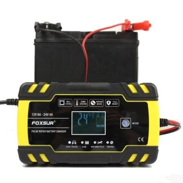 12V 24V Puls Reparatur Ladegerät mit LCD Display Motorrad & Auto Ladegerät AGM GEL WET Blei Ladegerät