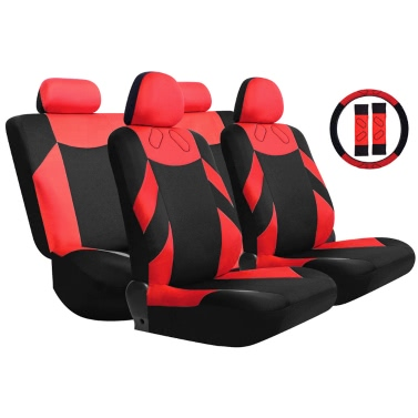 tirol universal 13pcs car seat cover front seat bench seat covers wheel cover set red blue gray. Black Bedroom Furniture Sets. Home Design Ideas