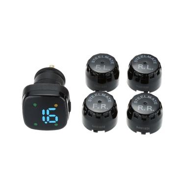 Steelmate TP-76 Drahtlos Reifendruck Kontrollsystem mit Zigarettenanzünder LCD Anzeige