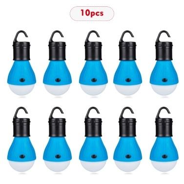 10 Pcs Mini Portátil Lanterna Tenda Luz LED Lâmpada de Emergência À Prova D 'Água Pendurado Gancho Lanterna Para Camping Azul