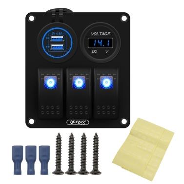 3 Gang Marine Ignition Toggle Rocker Switch Panel Waterproof