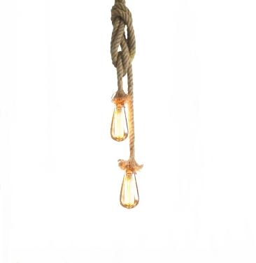 Lixada 100cm AC220V E27 Double Head Vintage Hemp Rope Hanging Ceiling Light