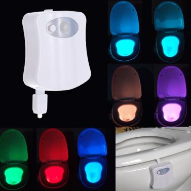 8 цветов LED Туалет ночник Движение Активированный светочувствительных зари до зари батарейках лампы
