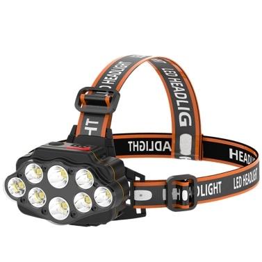 Stirnlampe Taschenlampe 8 Leds helle USB wiederaufladbare Stirnlampe mit 2 Batterien 4 Lichtmodi (1200 mA)