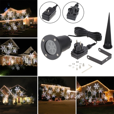 Tomshine 4W 4LEDs Moving White Snowflake Projector Light
