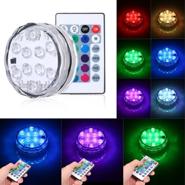10 LEDs Submersible Light Underwater Waterproof Light with Remote control