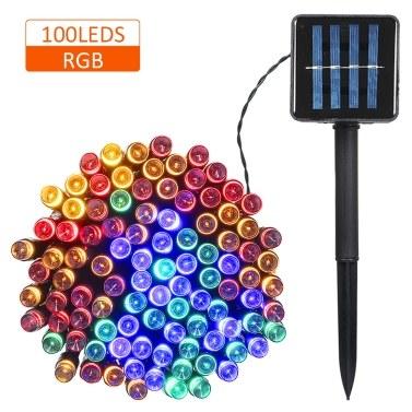 Solarbetriebene Lichterkette 100/200 LEDs 2 Beleuchtungsarten Weihnachtsbeleuchtung