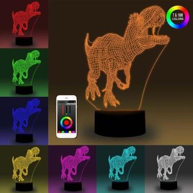 3D Inteligente Luz Noturna Encosto Ilusão Lâmpada LED 7 Cores de Ajuste de Brilho Dimmable APP Controle
