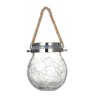 Outdoor Solar Hängeleuchte Crack Glaskugel Solar Hängeleuchte Lampe Lichterkette Landschaft Patio Gartenglas Solarleuchte 1St