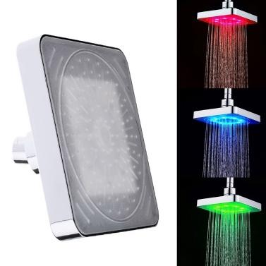 Automatisch 3 Farben ändern 8 LEDs Licht Duschkopf Bad Sprinkler Temperaturregelung Sensor Induktor für Badezimmer Waschraum tragbar