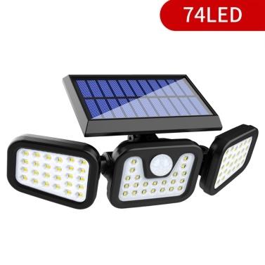74 LED Solare a 3 teste con lampada a fessura girevole Lampada da parete con sensore di movimento Lampada da giardino impermeabile per esterni